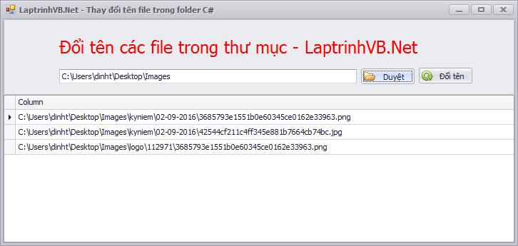 Đổi tên file trong thư mục chỉ định với C#