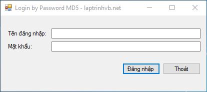 Đăng nhập bằng mật khẩu mã hóa MD5 với VB.NET