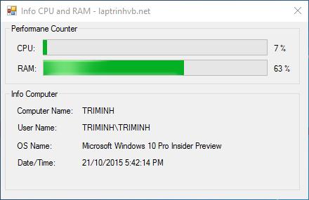Xem thông tin CPU bằng VB.NET