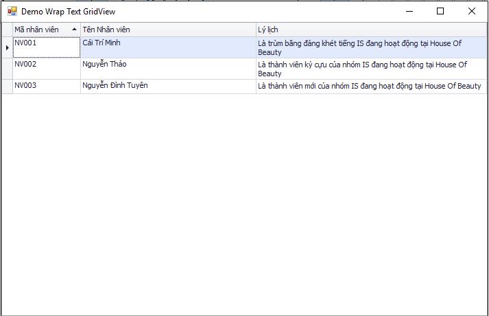 Hiển thị Wrap text trong GridView DevExpress VB.Net C#