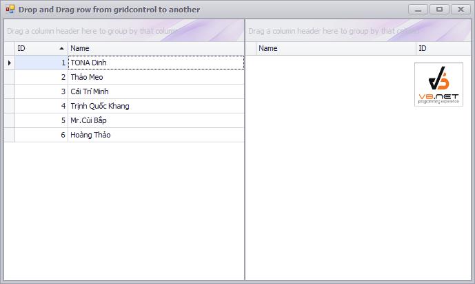 C# - Kéo thả dòng từ một lưới sang một lưới khác trong cùng một form