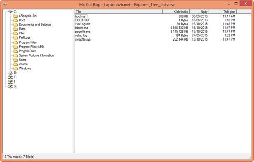 Duyệt  tập tin và thư mục giống Explorer với TreeView và ListView