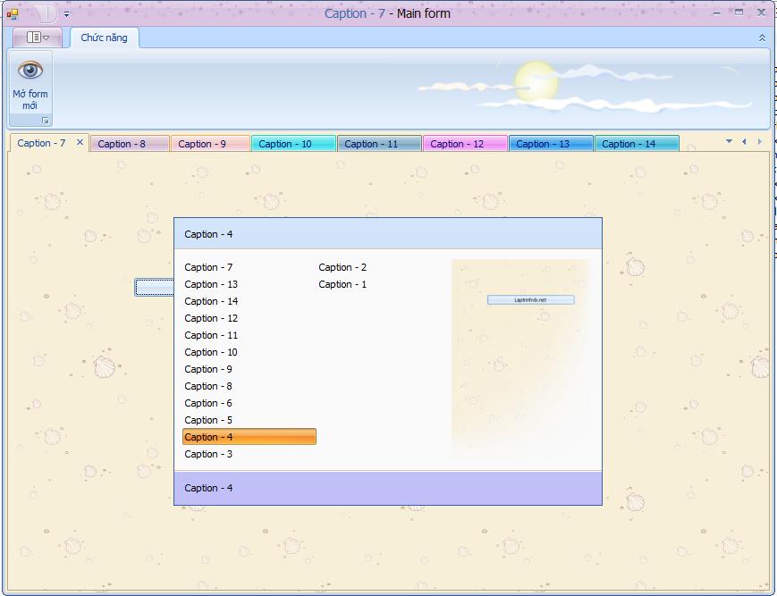 Tạo TabForm từ DocumentManager bằng C#