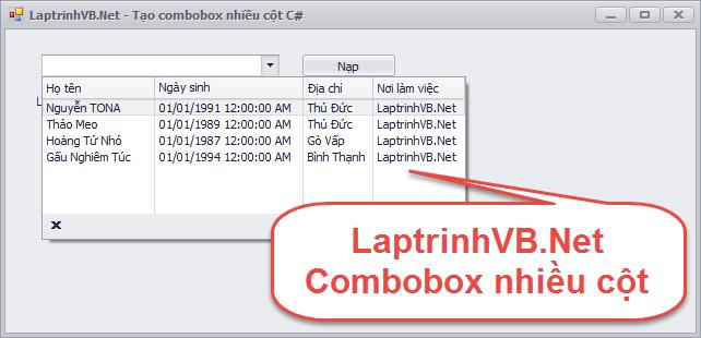 Hướng dẫn tạo một combobox nhiều cột với ngôn ngữ C# và VB.Net