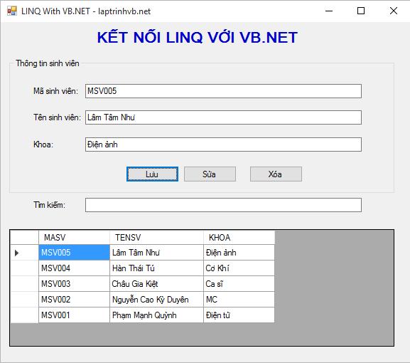 kết nối thêm xóa sửa tìm kiếm linq với sql sử dụng vb.net