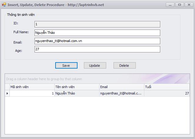 insert, update, delete sqlserver 2008 procedure vb.net