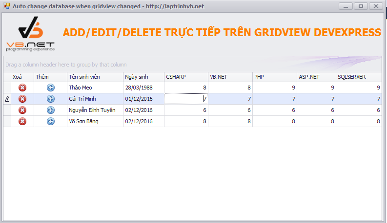 add edit delete gridview devexpress