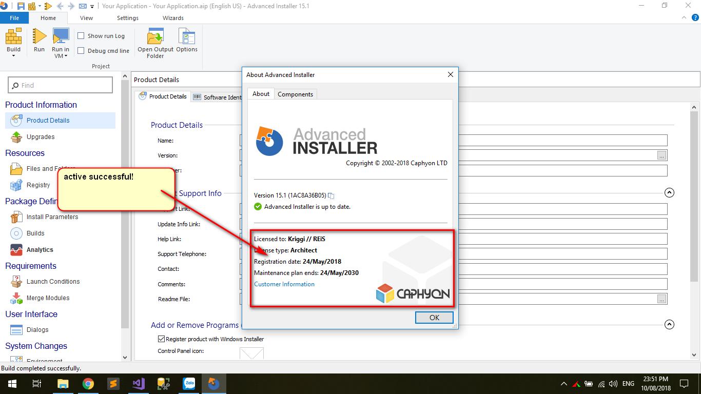 phần mềm đóng gói advance installer 15.1