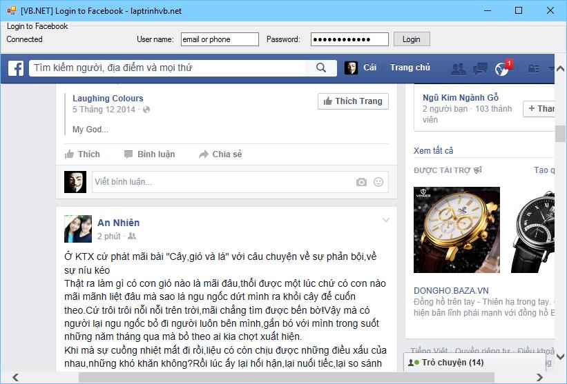 Đăng nhập facebook với VB.NET