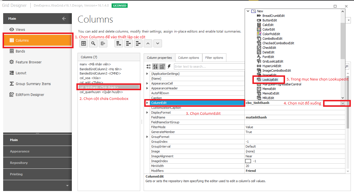 Change value on another combobox column in gridcontrol devexpress