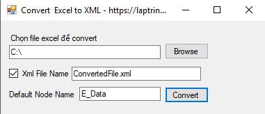 convert excel to xml