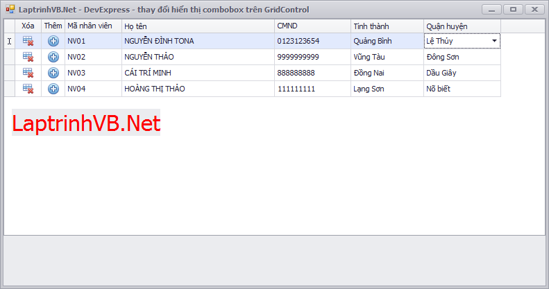 Change value on another combobox column in gridcontrol devexpress - Thay đổi giá trị của combobox trên gridcontrol sử dụng LookupEdit