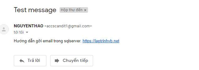 hoàn thành gởi email