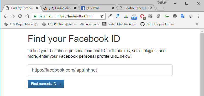 facebook id vb.net