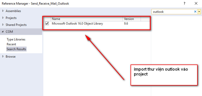 import thư viện outlook c#