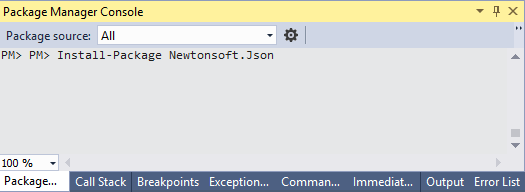 nuget console packet