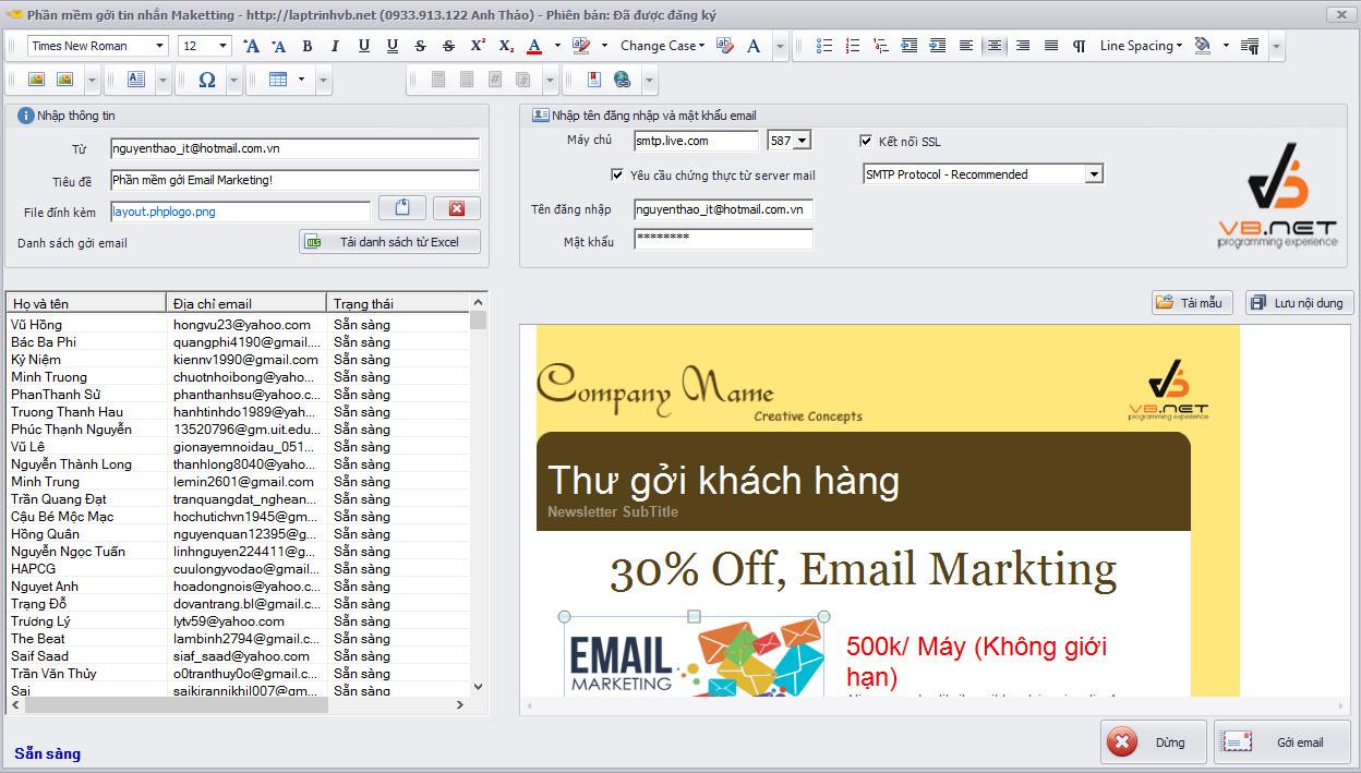 Phần mềm gởi email marketing hàng loạt