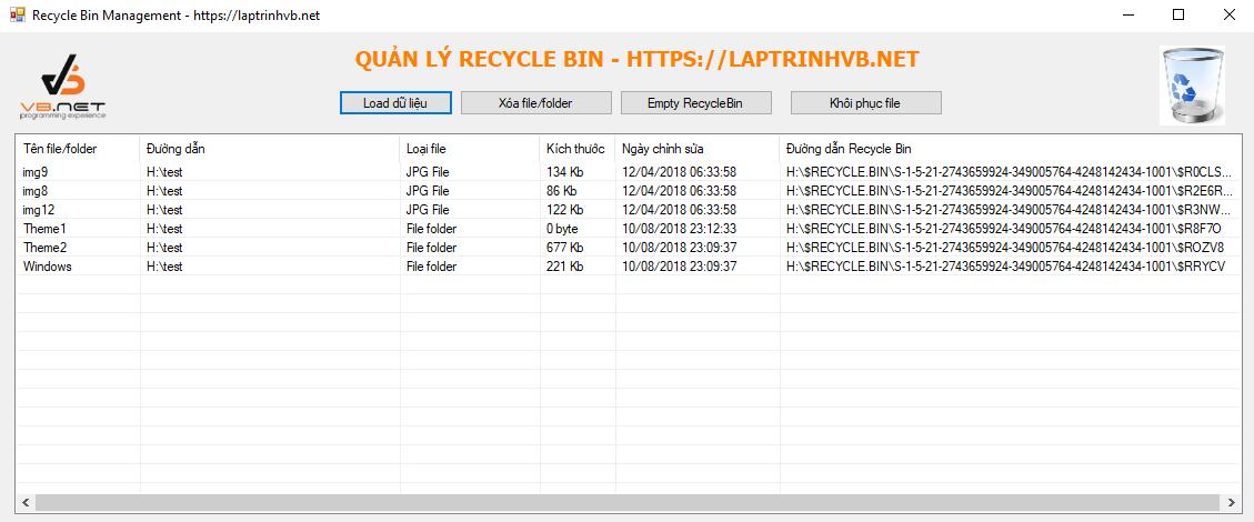 khôi phục file trong recycle bin c#