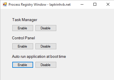 process registry with vb.net