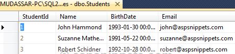 table dữ liệu email sinh viên C#