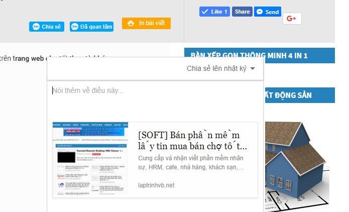 Tích hợp nút share zalo vào website php