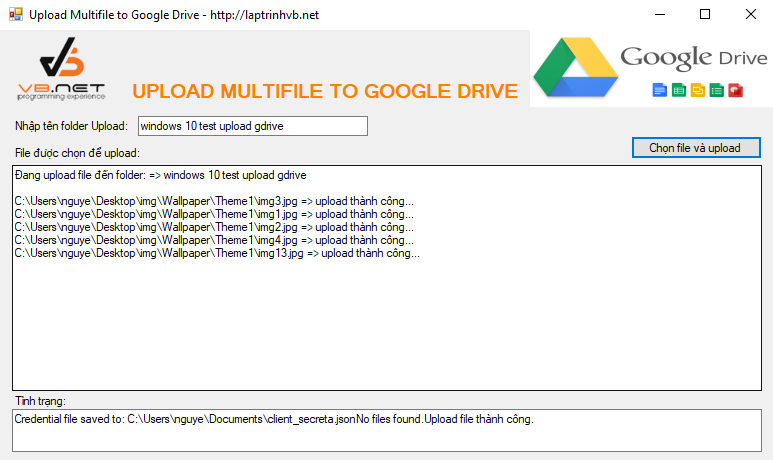 upload multi file to google drive c#