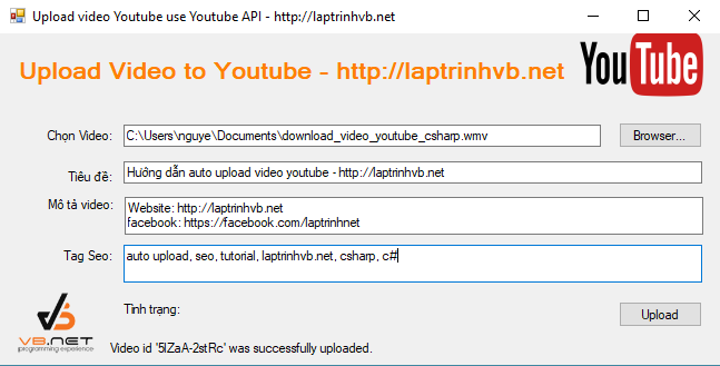 upload video youtube api v3
