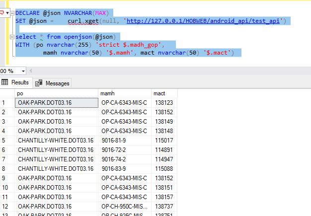DATABASE] Hướng dẫn sử dụng cURL Rest Api json trong sql server