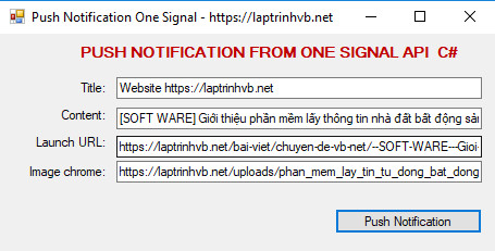 push notification one signal c#