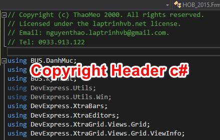 [C#] Hướng dẫn tạo Copyright Header trên từng file .cs trong Visual Studio