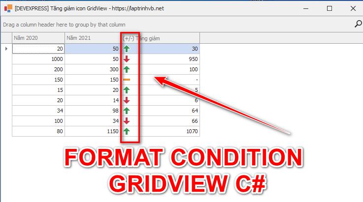 [DEVEXPRESS] Hướng dẫn thêm icon chênh lệch tăng giảm trên gridview