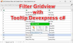 [DEVEXPRESS] Hướng dẫn sử dụng ToolTipController làm công cụ Filter Gridview
