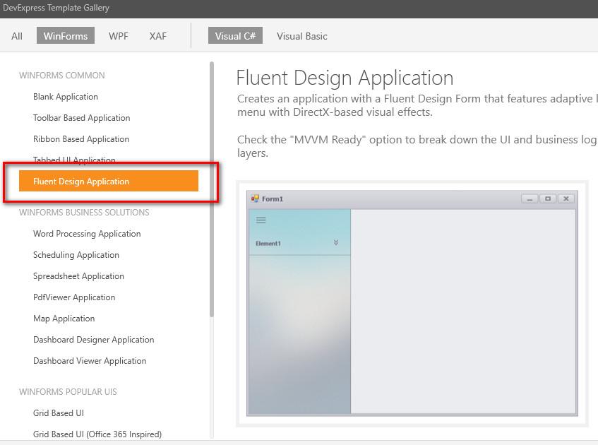 thiết kế fluent design winform devexpress c#