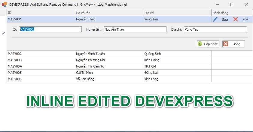 [DEVEXPRESS] Hướng dẫn thêm command Button Edit  và Delete trên Gridview C#