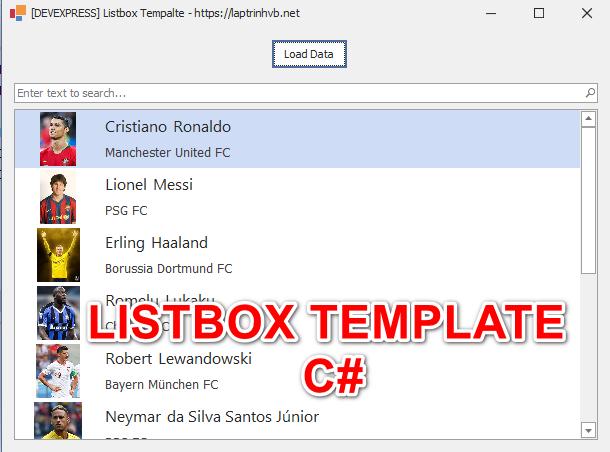 [DEVEXPRESS] Hướng dẫn sử dụng ListBox Template Winform