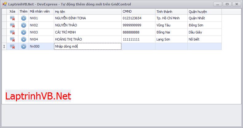 Add new row in GridControl DevExpress - Thêm dòng mới vào lưới khi nhấn tab cuối dòng trong GridControl DevExpress