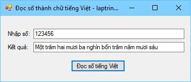 Chuyển đổi số thành chữ tiếng việt bằng VB.NET