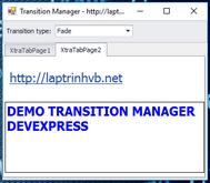 [DEVEXPRESS] Hướng dẫn tạo hiệu ứng di chuyển qua lại các tab sử dụng Transition Manager