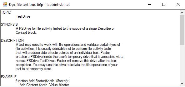 Hướng dẫn đọc file text *.txt trực tiếp  vào ứng dụng bằng Csharp.