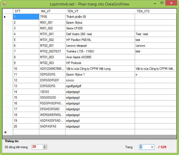 Phân trang dữ liệu  cho DataGridView giống như Web