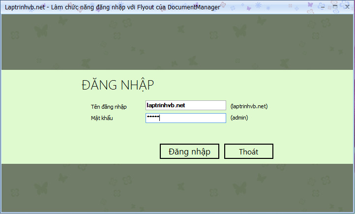 Tạo form đăng nhập style Win8 với Flyout của DocumentManager