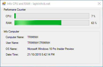 Xem thông tin CPU, RAM bằng VB.NET