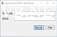 Form đăng nhập với mật khẩu mã hóa MD5