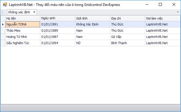 Thay đổi màu nền của ô trong GridControl Devexpress bằng C#