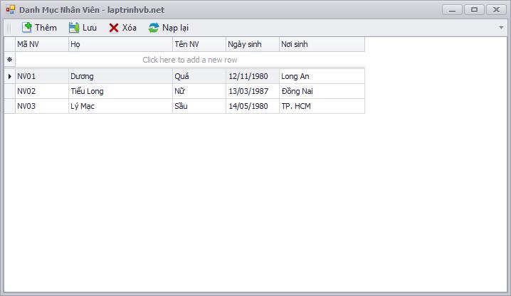 Sử dụng Girdcontrol để cập nhật dữ liệu
