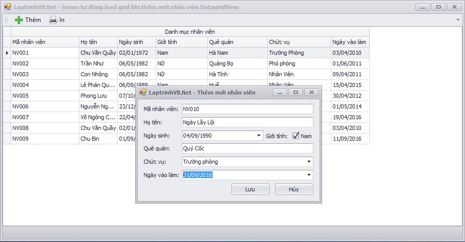 Truyền dữ liệu giữa 2 form trong VB.Net