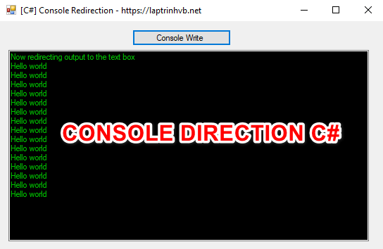 [C#] Lấy dữ liệu từ Console Write hiển thị lên textbox Winform