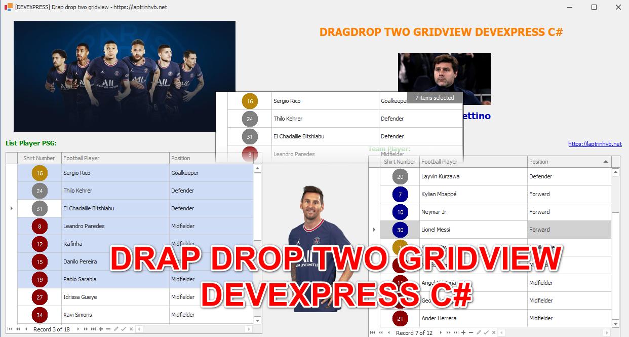[DEVEXPRESS] Hướng dẫn Drag drop di chuyển dữ liệu giữa hai Gridview Winform
