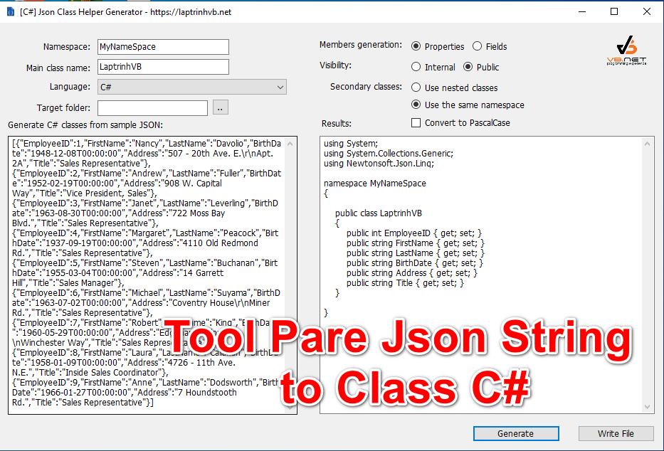 [C#] Chia sẽ Tool Convert Json String to class csharp, vb, typescript