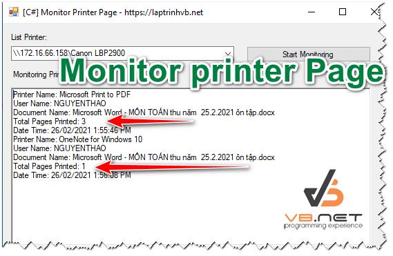 [C#] Hướng dẫn viết ứng dụng theo dõi máy in bao nhiêu trang (Monitor Printer)